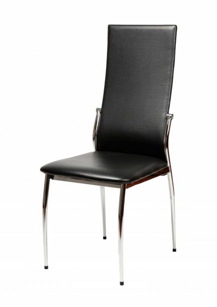 4 sillas comedor crole similpiel negra cromada mejor for Sillas negras comedor