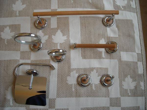 Conjunto de 7 accesorios de ba o modelo siria color haya for Conjunto de accesorios de bano