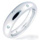Anillo de oro blanco de 18 kilates bombé con Diamantes en zigzag - mejor precio | unprecio.es