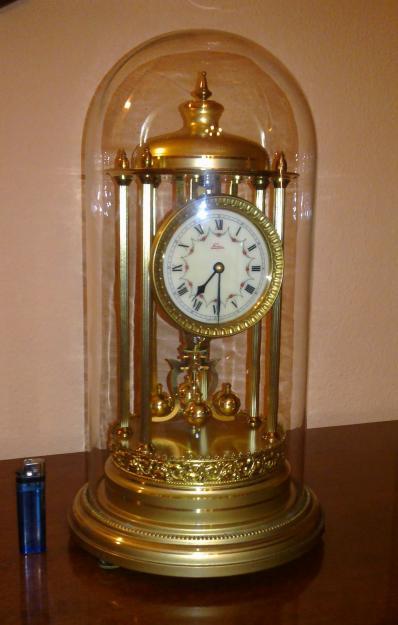 Reloj de pendulo de mesa grande aleman con cupula for Relojes de pared antiguos de pendulo