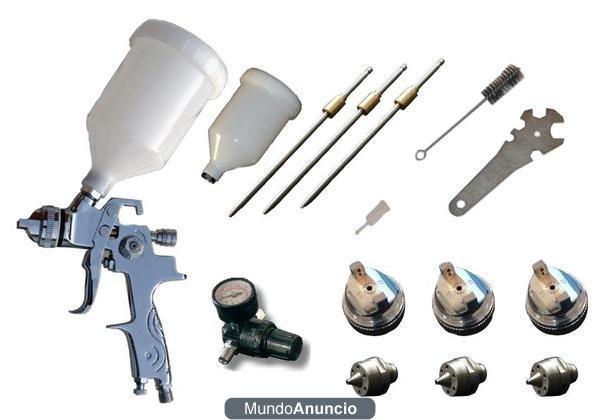 Pistola pintar hvlp profesional v2a inoxidable con 3 - Pistola para pintar paredes precios ...