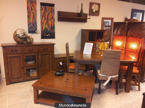 Comedor completo en madera maciza muebles rusticos for Oferta comedor completo