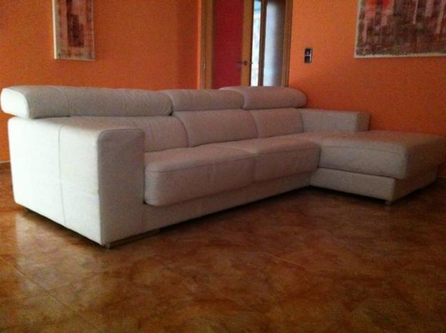 Sofa de piel chaise longue blanco mejor precio - Sofa piel blanco ...