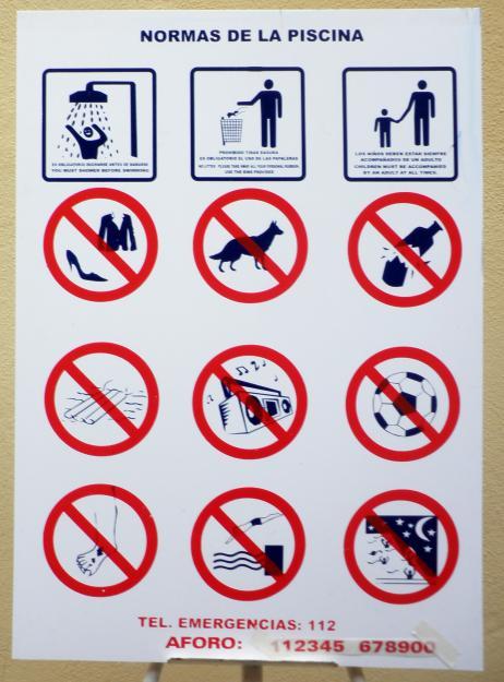 Pin cartel de normas en clasejpg on pinterest for Normas de piscina