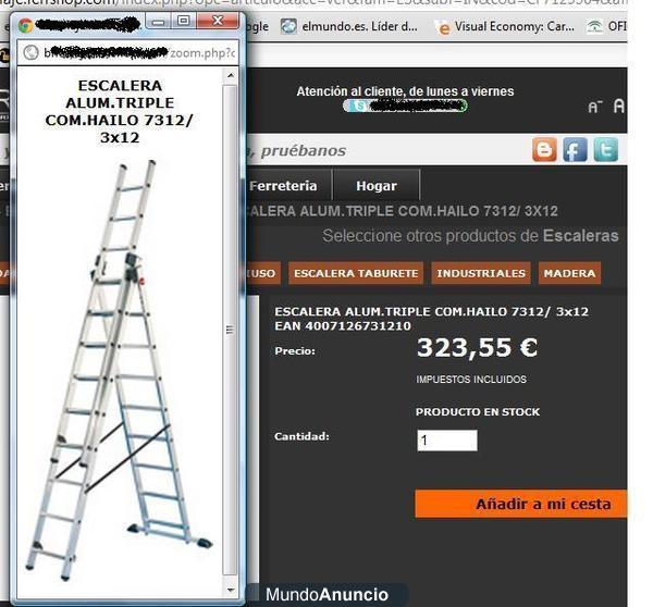 Escalera aluminio 3 tramos 12 metros 278279 mejor precio for Escalera de aluminio extensible 9 metros