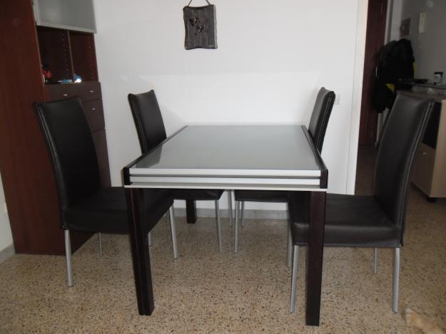 Mesa comedor cristal y madera extensible mejor precio for Precio mesa comedor