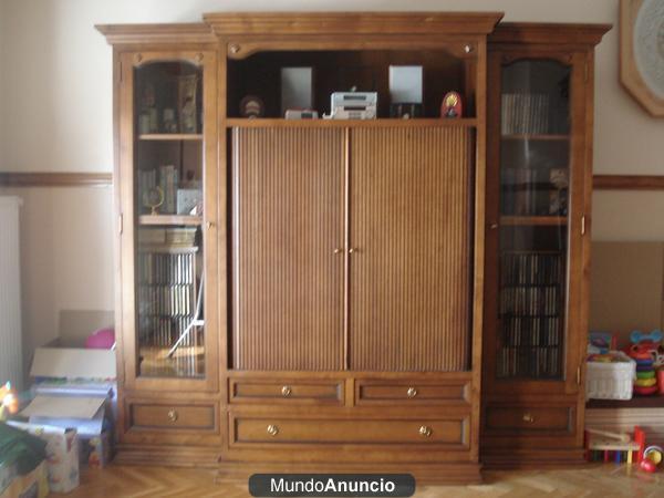 Mueble de sal n madera maciza color nogal 324617 mejor for Muebles de madera maciza precios