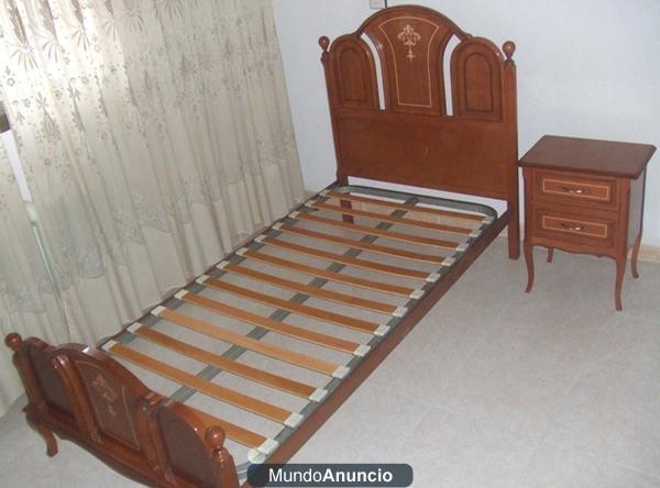 Estructura de cama 90x180 y mesilla en madera mejor precio - Estructura cama ...