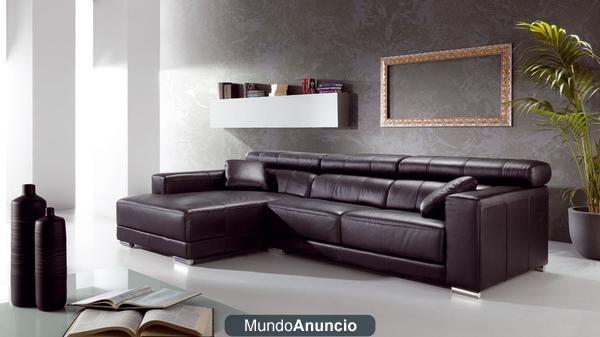 Sofa cheslong chaise longue piel vaca italiana for Sofas chaise longue de piel