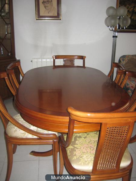 Mesa comedor madera noble maciza y 6 sillas mejor precio for Mesa comedor madera maciza