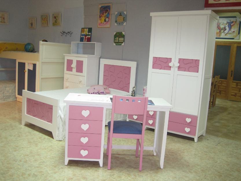 Dormitorio juvenil infantil rosa de madera mejor precio - Dormitorio infantil segunda mano ...