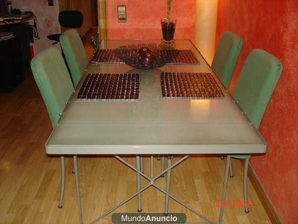 Mesa comedor cristal regalo 4 sillas mejor precio for Mesa cristal 4 personas