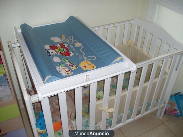 Cuna de bebe con cambiador mas extras mejor precio for Cuna con cambiador