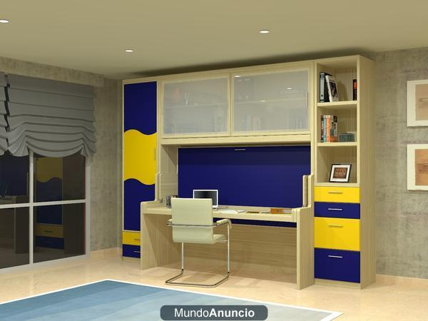 Camas abatibles en vertical muebles juveniles mueble for Mueble juvenil cama abatible