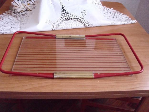 VINTAGE antigua bandeja cristal de los años 60. Patent MB. Made in Italy.