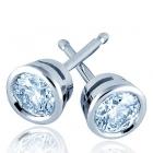 Pendientes de oro blanco de 18 kilates con bisel para diamantes talla brillante - mejor precio | unprecio.es