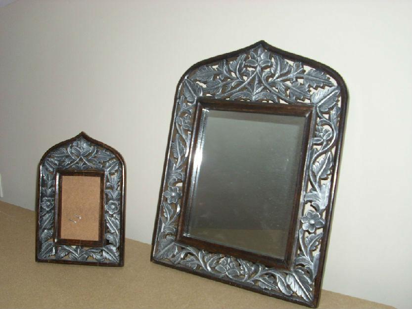 Conjunto Indú de espejo y marco portaretratos