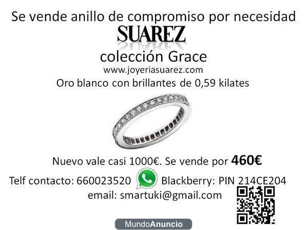Vendo anillo compromiso oro blanco y brillantes SUAREZ