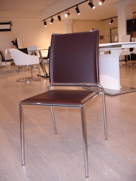 Oferta 2x1 silla piel reciclada marr n chocolate mejor for Sillas piel marron chocolate