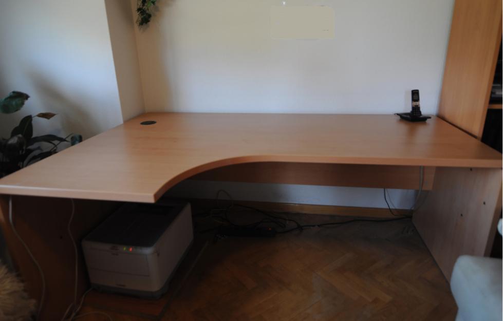 Mesa despacho color haya con curva ala mejor precio for Precio mesa de despacho