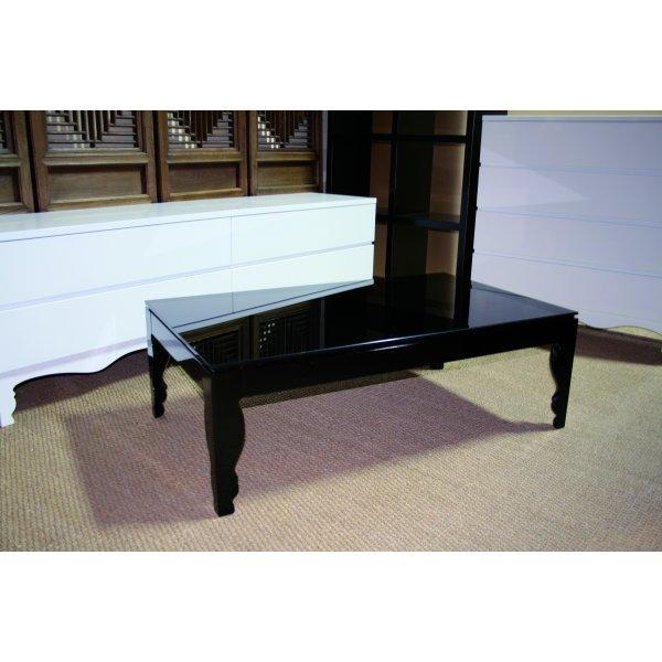 Mesa de centro lacada en negro brillante y cristal for Muebles la ganga lleida
