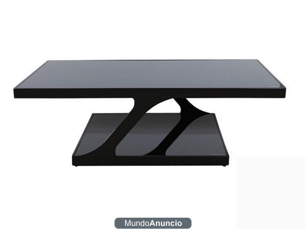 Mesa de centro cristal templado negro y acero mejor for Mesa diseno cristal