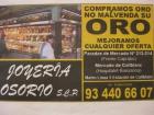 COMPRO ORO 93-440-66-07 PRAT DE LLOBREGAT - mejor precio | unprecio.es