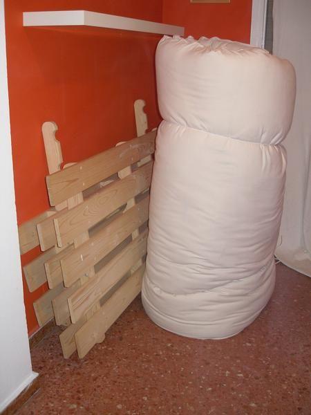 Cambio futon 1 50x1 90 de lana con estructura de ikea por - Estructura cama individual ...