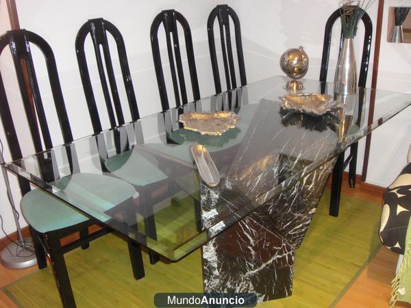 Se vende mesa cristal 90x140 con pie de marmol 6 sillas for Mesa cristal 140 x 90