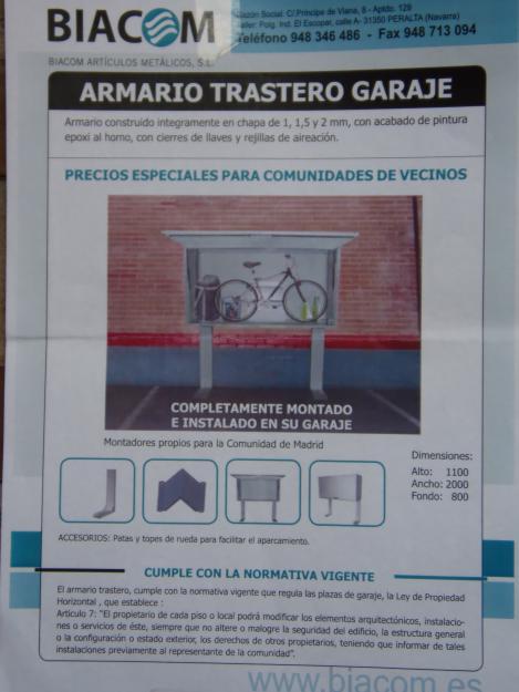 Armarios trasteros para tu plaza de garaje mejor precio - Simulador gastos compra plaza garaje ...