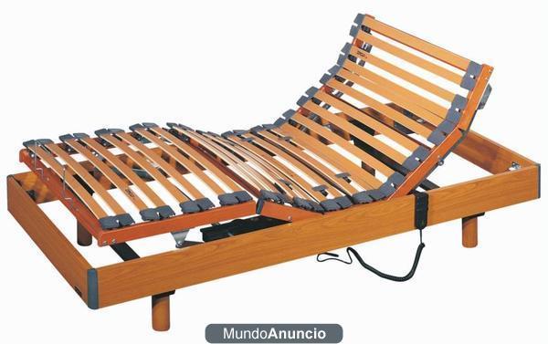 Cama el ctrica articulada 5 planos con estructura madera for Sofa cama sin somier